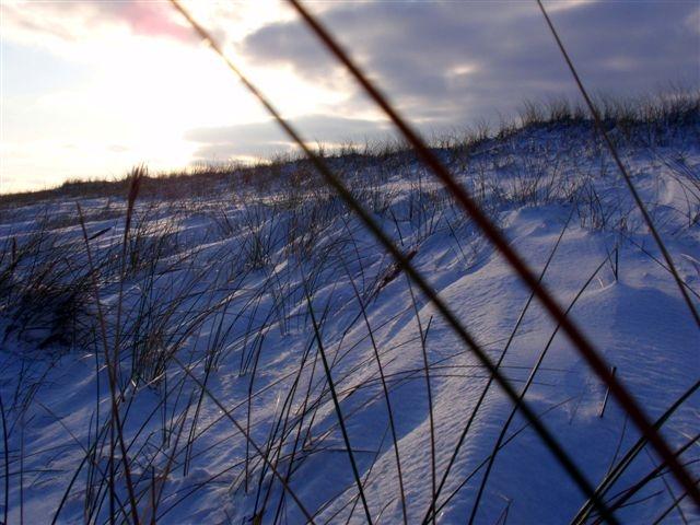 Schneeverwehungen auf den Dünen