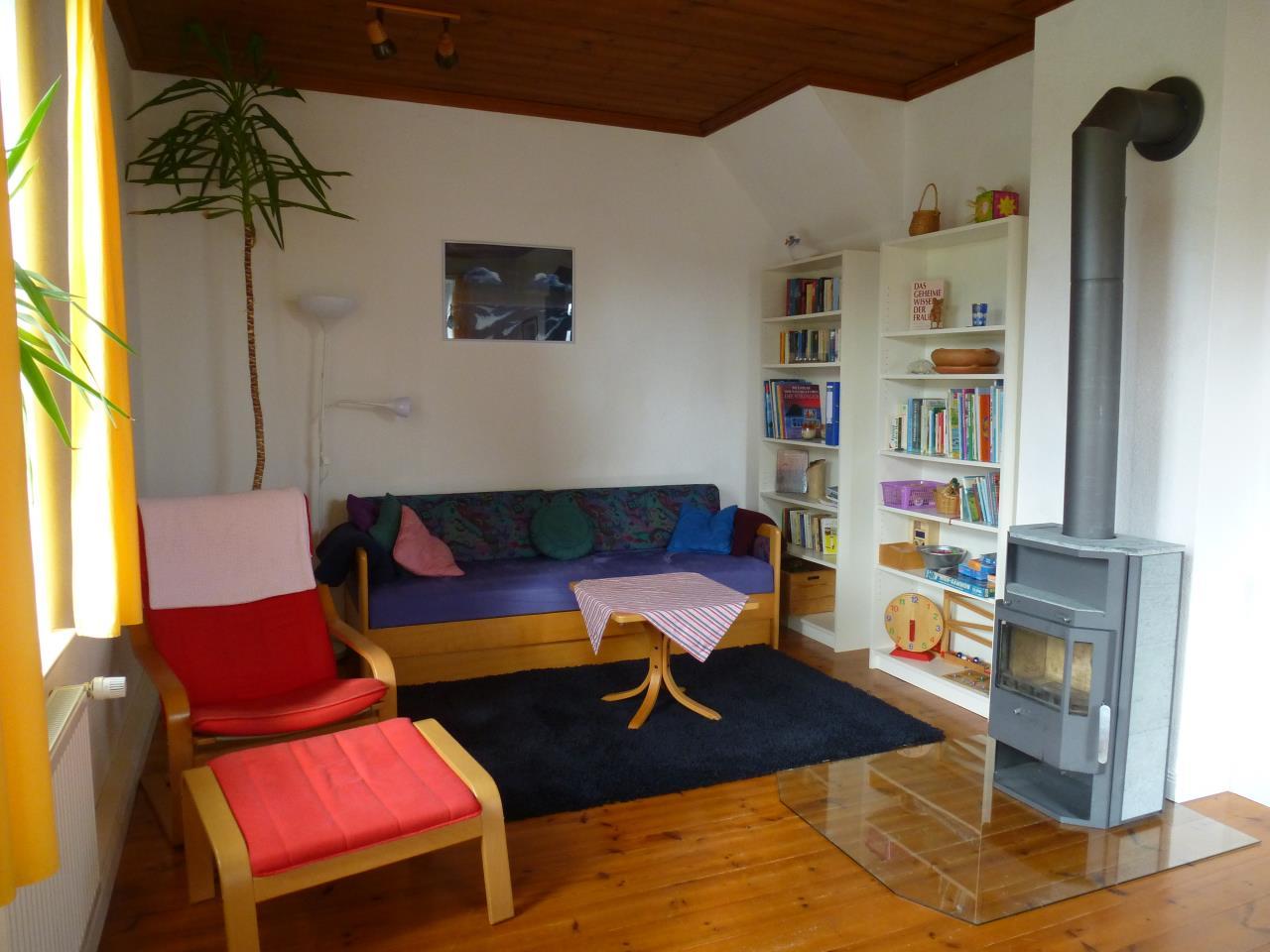 Ferienhaus-Ostsee-Schlei-Wohnzimmer-Kamin